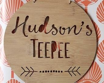 Personalised Wooden Wall / Door Hanging - Teepee-Arrow-wall hanging-art-kids door sign-custom-kids gift-baby gift-lasercut-plaque