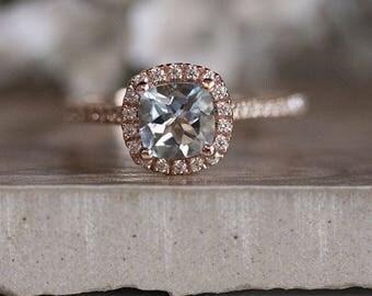 Rose Gold 6mm Cushion Aquamarine Engagement Ring, Wedding Ring, 14k, Rose Gold Ring, Bridal Ring, Diamond Halo Natural Aquamarine Ring