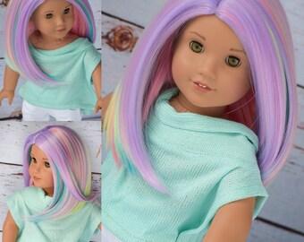 "10-11""  Custom Doll Wig fits Gotz, American girl dolls, Journey girls, heat safe Color- Fairy Dust"
