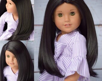 "Custom Doll Wig for 18"" American Girl Doll  - Heat Safe - Tangle Resistant - fits 10-11.5"" head size of all 18"" dolls Black Purple"