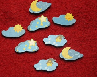 "set of 8 theme ""clouds"" painted wooden embellishments"