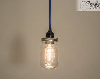 Blue Hanging Pendant Light With Edison Style Bulb in a Mason Jar