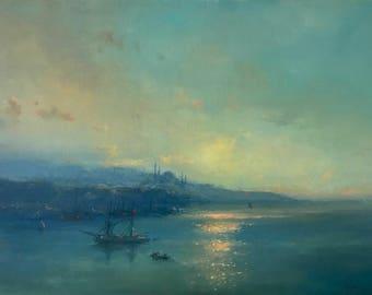 Istanbul Harbor, Seascape, Original oil Painting, Museum Quality, Handmade artwork, Oil on Linen, Signed