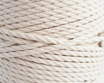 6mm Macrame cord 15/64 in Cotton rope 109 yd corde macrame rope 100 m cotton cord natural fiber