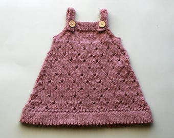 Baby wool dress, Knit baby dress, Hand knit baby dress, Merino baby outfit, Baby girl outfit, Baby girl clothes,  Baby knitted outfits