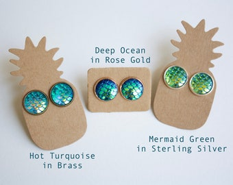 Mermaid Scale Stud Earrings Blue and Green Rose Gold Sterling Silver and Antique Brass Summer Jewelry