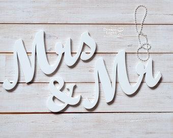 Set Mr & Mrs Wooden Letters for Wedding Table Decoration Sign Set Sweetheart