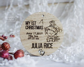 Personalized Babys First Christmas Ornament Wood Rustic Baby's Shower Gift Tree Slice Keepsake