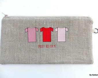 Red pattern linen pouch