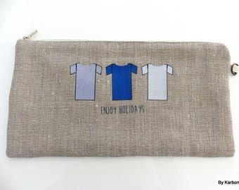 Blue pattern linen pouch