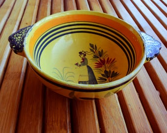 Bowl by quimper signed HENRIOT - Art deco - Made in france -