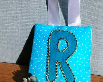 TURQUOISE spot tooth fairy pouch door-hanger with TURQUOISE letter, GOLD beaded border, and turquoise pocket on reverse for tooth/coin.