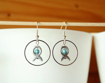 Silver earrings, ring, fish and turquoise bead