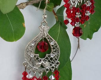 Red Crystal Chandelier earrings with clear & red  crystals.