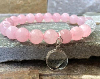 Real flower flower bracelet Rose Quartz rock crystal summer