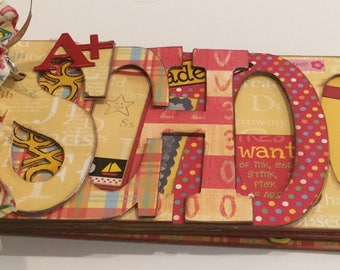 School chipboard Word Book