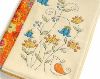 Summer Fabric Book Cover, Reusable Notebook Case, Travel Journal, Handmade Book Cover, Embroidered Flowers, Diary Cover, Birthday Gift