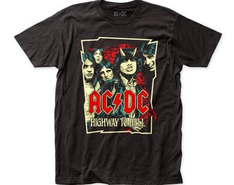 AC/DC Highway Illustration Men's Soft Fitted 30/1 Cotton Tee (ACDC41) Black