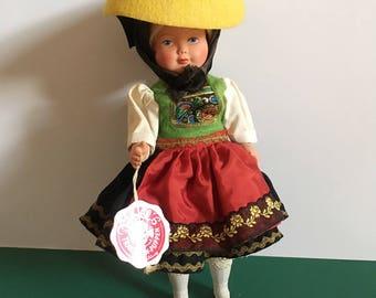 "Trachten-Puppen West German Vintage Costume Doll, 1970's, excellent condition, 9"" tall."