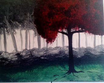 Forest in fog acrylic paint
