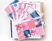 Flamingo Weekly Kit (stickers for Erin Condren Life Planner - Vertical)