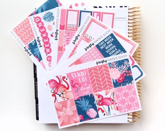 Flamingo Weekly Kit (stickers for Erin Condren Life Planner - Vertical)