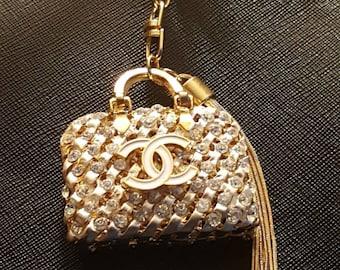 Chanel inspired gold bag ,zipper charm.