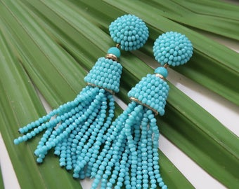 """The Captiva - 3.5"""" Turquoise Beaded Tassel Earrings by St. Armands Designs - Ships Immediately from Sunny Florida!"""