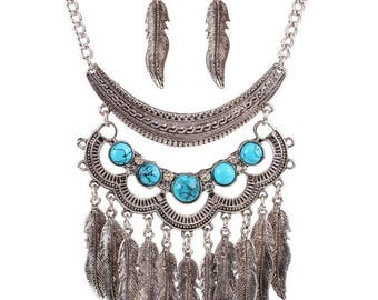 Beaded Tribal Turquoise Silver Layered Statement Necklace