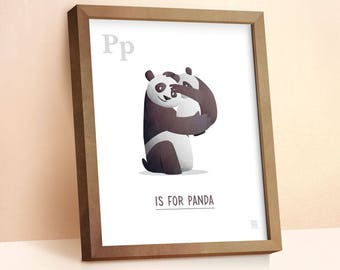 Panda Print | Nursery Animal Print | Alphabet letters | Alphabet Print | ABC letters | Animal Prints for Nursery | Nursery Wall Art