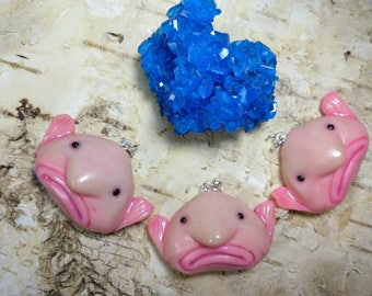 Blobfish polymer clay necklace, blob fish, ugly blob fish pendant, necklace, charm, keychain