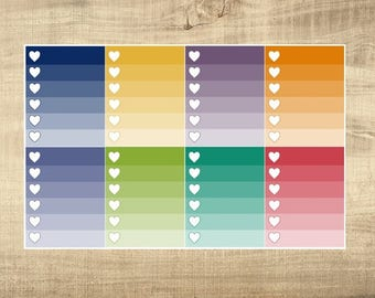 8 Multi-Coloured Ombre Heart Checkbox Stickers for Erin Condren LifePlanner