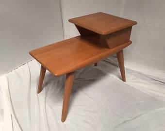 Vintage Heywood Wakefield Two Tier Step End Table 1950s Aristocraft Line  Original Champagne Finish