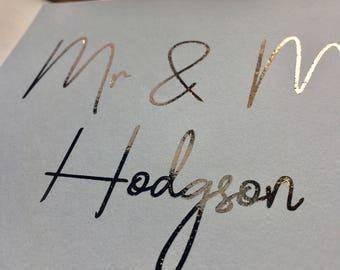 Personalised Wedding Card,Foil  Wedding Card, Congratulations Card, Happy Couple Card,  Unique Wedding Card, Foiled Wedding Card