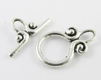 Bulk 10 sets (20pce) DIY Scroll Toggle Clasp Finding 20x12mm Antique Silver