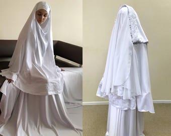 Elegant Muslim wedding suit, bridal Silk jilbab, White khimar, engagement islamic dress, nikah outfit, lace burqa