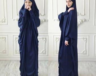 Navy blue Long Silk Khimar, Elegant green muslim dress, Burqa,Dubai Abaya, traditional hijab,ready to wear hijab, long Jilbab, long burqa