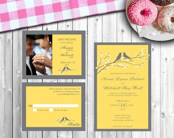 "Personalized Wedding Invitation Set - ""Canary"" - Style #219"
