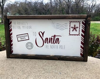 Letters to santa sign, letters from santa sign, christmas decor, personalized christmas sign