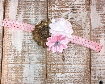 Pink & Gold Headband, Baby Girl Headband, Birthday Headband, Toddler Headband, Photo Prop, Baby Shower Gift