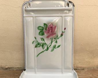 Vintage Enamelware large white flower rose enamel Utensil enameled 23081710