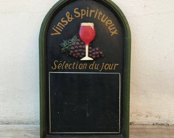 Large Wood Framed Blackboard Restaurant Pub Menu Board french WINE 1902182