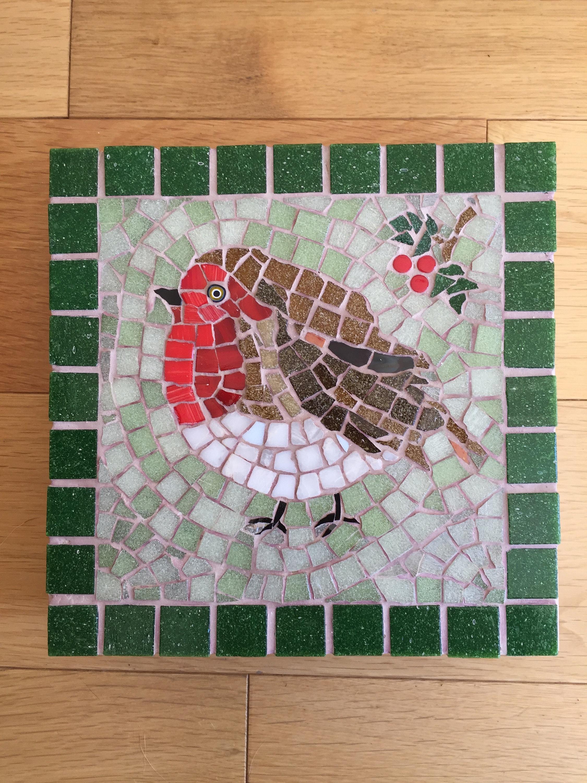 Robin Redbreast Mosaic Ceramic Tile Trivet Pot Stand Coaster