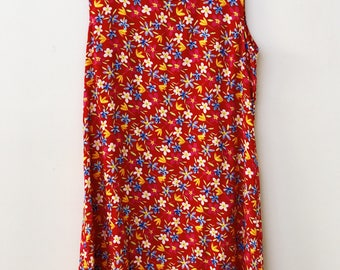 Red Floral Vintage Slip Dress
