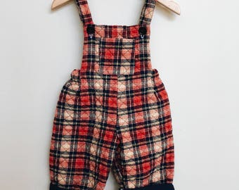 Vintage Quilted Tartan Toddler Overalls