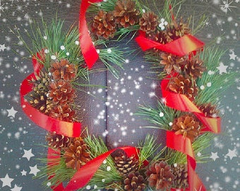 Wreath Christmas Decoration Christmas Party Christmas Gift Handmade Original Natural Wreath Material Wreath Pinecone Door Woods holiday