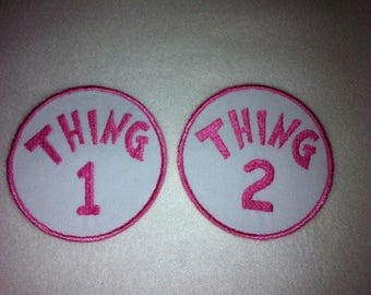 Pink Thing 1 and 2 Iron on Applique Patch