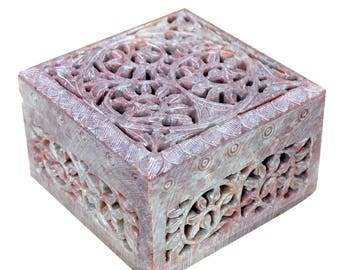 Jewellery Box Decorative Natural Soapstone Floral Carving Multi Utility Storage Box By Hashcart