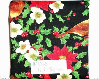 Fabric - 1yd piece-Christmas/Xmas/Winter- Cardinals/coordinates with Deck the Halls Cardinal Panel/poinsettia/red/green/black/cream (#3025)