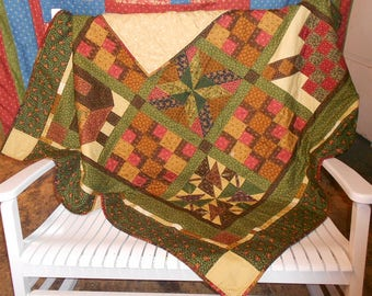 """Thimbleberries/Thimbleberry """"Sunset"""" Fall/Autumn Wall Hanging or Lap Quilt 59"""" x 59"""""""